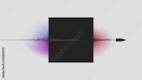 Fotografie, Obraz Flying bullet through the black square, Particle explosion from shot