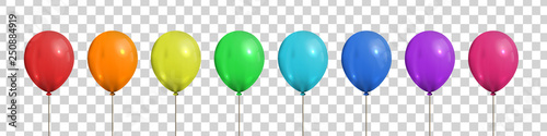 Vector set of realistic isolated colorful balloons for template and invitation decoration on the transparent background Fototapete