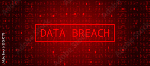 Fotografia Digital Binary Code on Dark Red BG. Data Breach