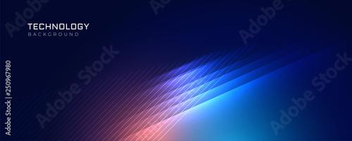 Fotografie, Tablou stylish blue technology lights background