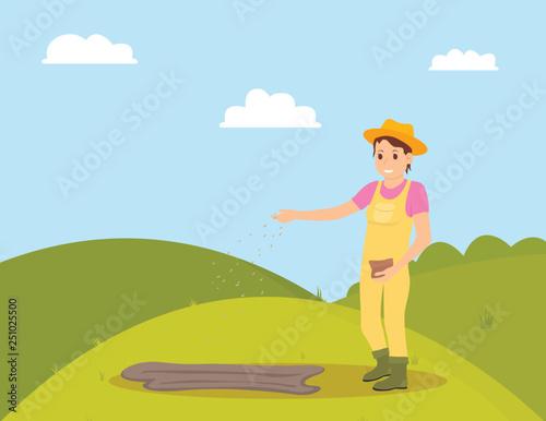Canvas Print Farmer planting seeds on green field