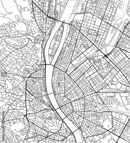 Canvas Print Black and white vector city map of Budapest with well organized separated layers