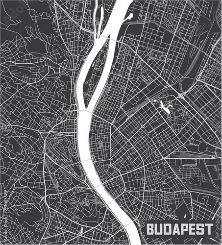 Photo Minimalistic Budapest city map poster design.