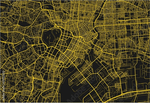 Fotografie, Obraz Black and yellow vector city map of Tokyo with well organized separated layers