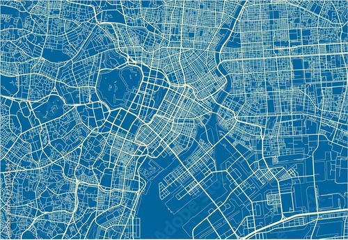 Obraz na plátně Blue and White vector city map of Tokyo with well organized separated layers
