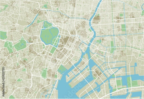 Fototapeta Vector city map of Tokyo with well organized separated layers.