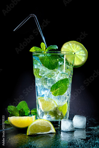 Mojito cocktail with fresh lime and mint