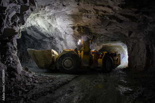 Canvas Print Underground gold ore mine shaft tunnel gallery passage with load, haul, dump mac
