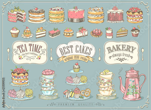 Stampa su Tela Big vintage collection of hand-drawn tea and kb bakery