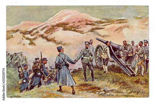 Wallpaper Mural French historical postcard: battle for the mountain Loosen, 29 August 1914