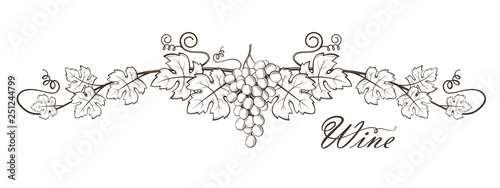 Canvas-taulu illustration of grape bunches with leaves