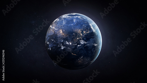 Canvas Print Nightly Earth globe in the outer space