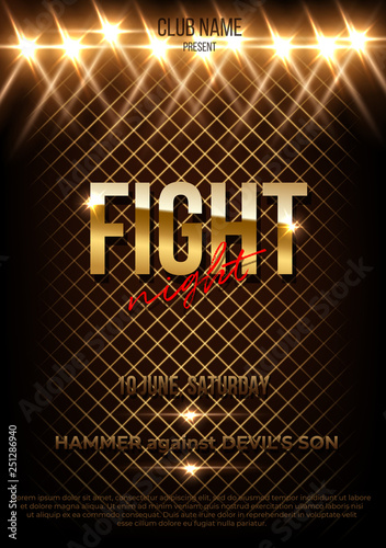 Photo Fight night vector poster template with text space