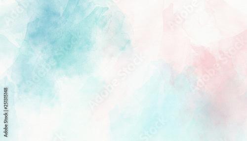 Fotografie, Obraz Light pink blue pastel watercolor background