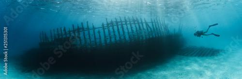 Obraz na plátně Woman scuba diver exploring ship wreck