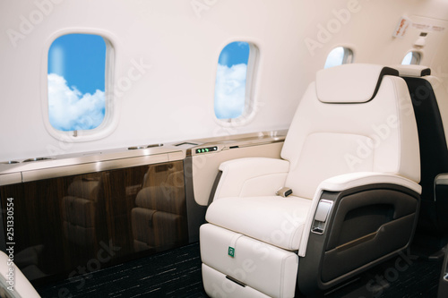 Business jet aircraft interior with leather comfortable seats Fototapet