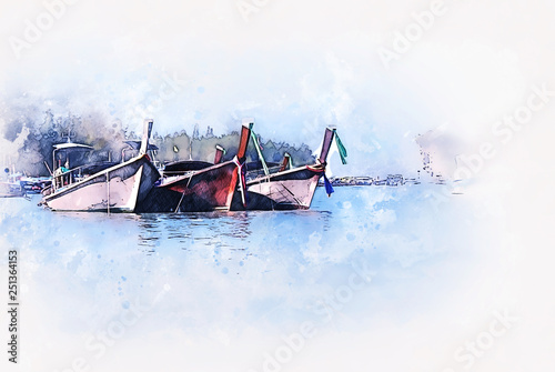 Obraz na płótnie Abstract colorful fishing boat on sea watercolor illustration painting background