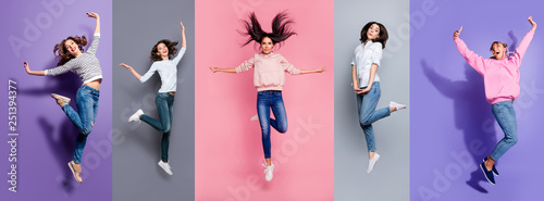 Full length body size view five different nice dreamy lovely attractive charming positive thin slim people having fun isolated over pastel pink violet purple grey background