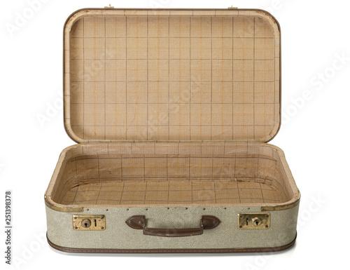Obraz na plátně Opened shabby vintage suitcase isolated