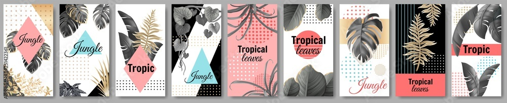 Set template banners dark and gold leaves of tropical exotic plants. Flyers jungle with palm trees and lianas. Vector 3d illustration with space for text. <span>plik: #251422361 | autor: valadzionakvolha</span>