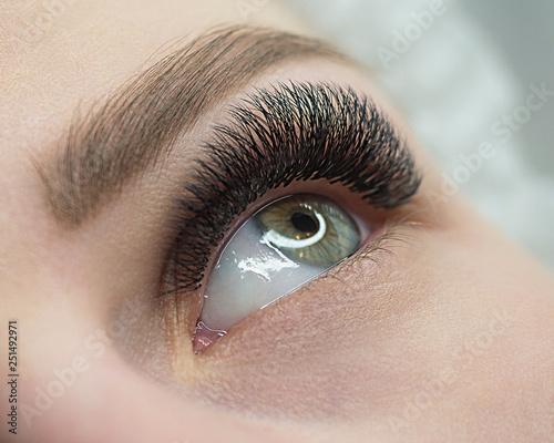 Fotografia Beautiful macro shot of female open eye with eyelash extension