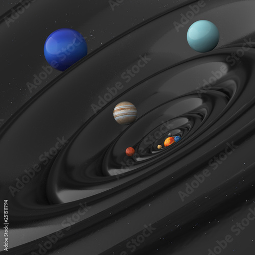 Canvastavla gravitational waves of the planet of the solar system