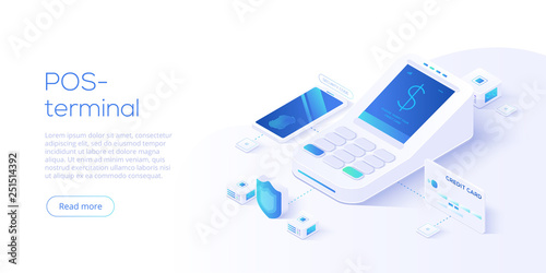 Internet banking concept in isometric vector illustration Fototapeta