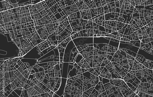 Obraz na plátně Black and white vector city map of London