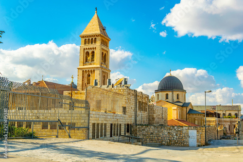Canvas Print Cityspace of Jerusalem with churches of the redeemer and holy sepulchre, Israel