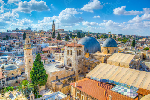 Cityspace of Jerusalem with church of holy sepulchre, Israel