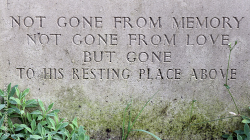 Obraz na plátne inscription on headstone at municipal cemetery in Amsterdam, The Netherlands
