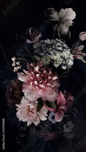 Fotografia Peonies, hydrangea, lily, iris and tulips in bloom