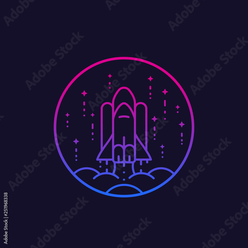 Canvas-taulu space shuttle launch vector line icon