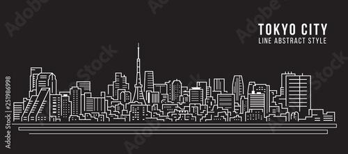 Photo Cityscape Building Line art Vector Illustration design - Tokyo city