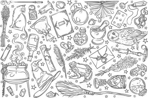 Wallpaper Mural Hand drawn magic tools.