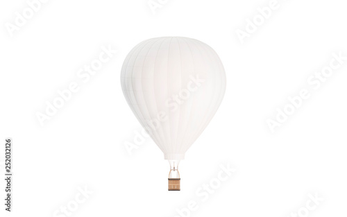 Blank white balloon with hot air mockup, isolated, 3d rendering Fototapeta