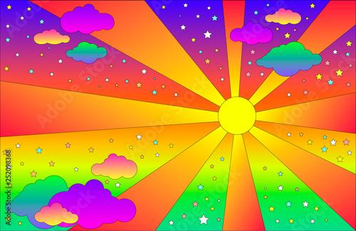 Obraz na plátně Vintage psychedelic landscape with sun and clouds, stars