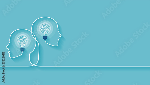 Vector of two human heads made of gears with light bulb shape inside