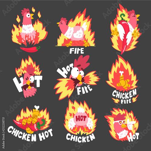 Photo Hot spicy fire chicken set, creative logo design templates vector Illustration