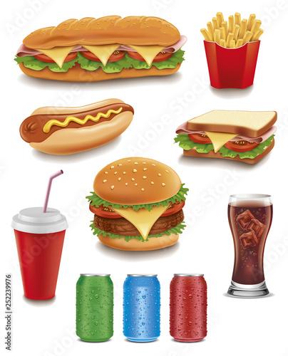 Fotografie, Obraz fast food items-hamburger, fries, hotdog, drinks, sandwich, baguette