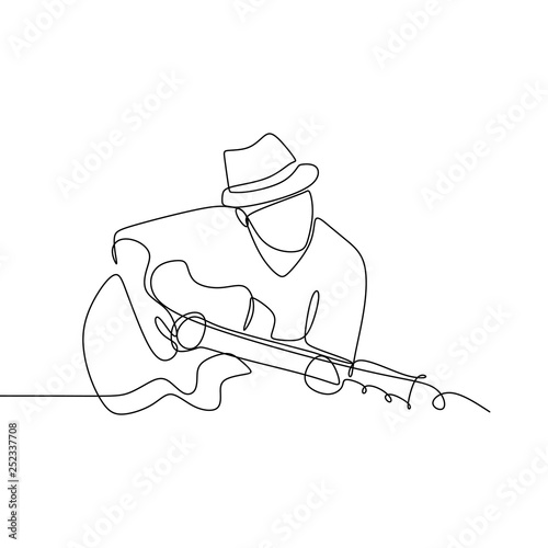 Stampa su Tela Person sing a song with acoustic jazz guitar continuous one line art drawing vec