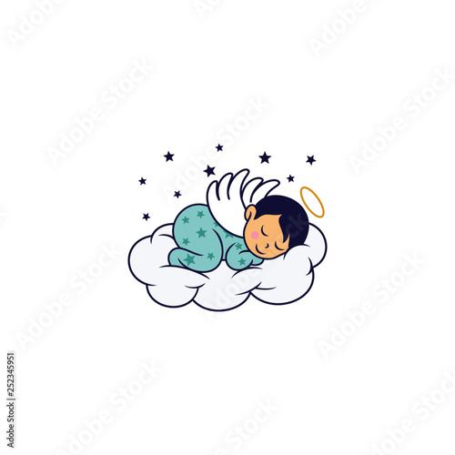 Stampa su Tela Sleeping Cute Baby Logo Designs Template