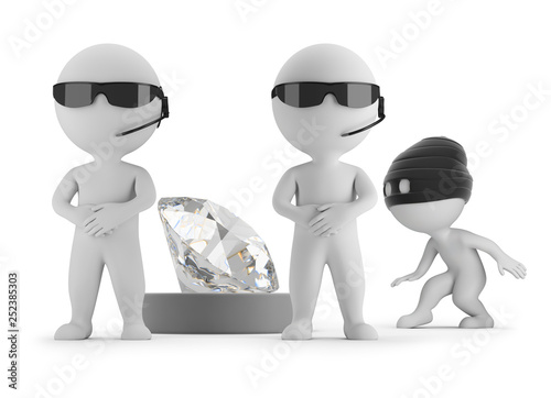 3d small people - thief wants to steal a diamond Fototapeta