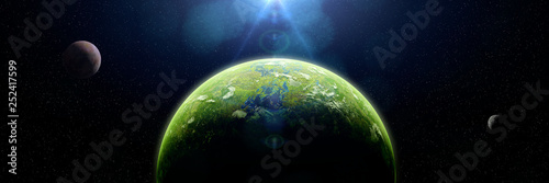 Wallpaper Mural forest exoplanet, jungle exoplanet in a distant star system (3d space illustrati