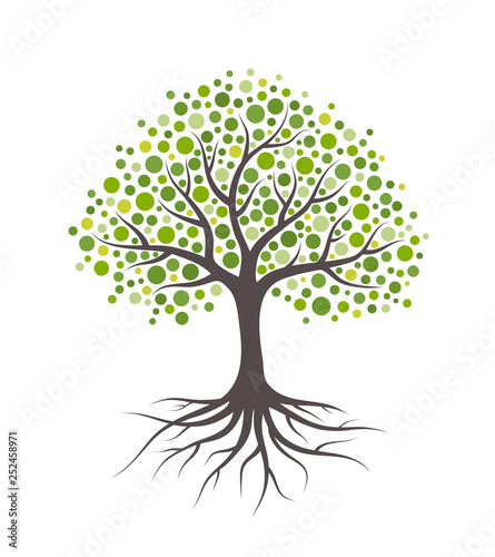 Abstract tree with roots and green round leaves. Isolated on white background. Flat style, vector illustration.