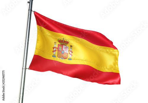 Wallpaper Mural Spain flag waving isolated white background 3D illustration