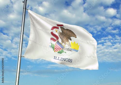 Fotografie, Obraz Illinois state of United States flag waving sky background 3D illustration