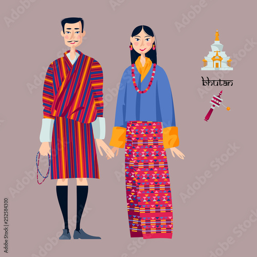 Canvas Print Bhutan. Couple in traditional national clothes.