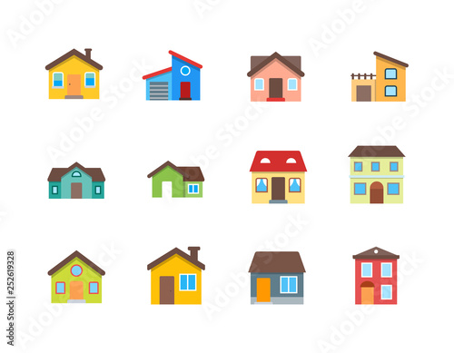 House vector flat illustration / Home flat icon set.