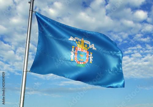 Melilla of Spain flag waving sky background 3D illustration